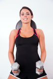 Smooth Skin Beautiful Brunette Woman Working Out Weight Bench Royalty Free Stock Images