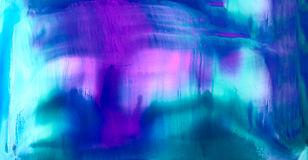 Smooth smudged cyan blue purple. Colorful background hand drawn with bright inks and watercolor paints. Color splashes and splatters create uneven artistic Stock Image