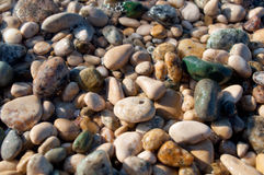 Smooth Stones. Smooth pebble background from a beach shore Stock Image