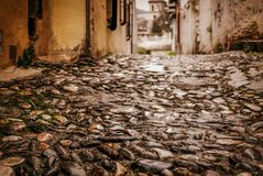 Cobbled and smooth stoned street,low angle,Granada,Andalucia,Spain stock photo