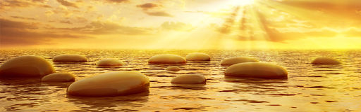 Smooth stones reflecting in water under sun beams. Smooth stones reflecting in water at sunset panoramic view stock illustration