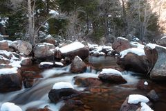 Smooth Stream during winter Stock Photo