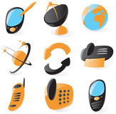 Smooth telecommunications icons. Set of smooth and glossy telecommunications icons. Vector illustration royalty free illustration
