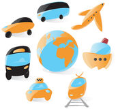 Smooth transportation icons Royalty Free Stock Photos