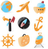 Smooth travel icons Royalty Free Stock Image