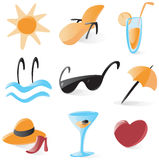 Smooth vacations and resort icons. Set of smooth and glossy icons for vacations and resort. Vector illustration Stock Photography