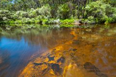 Smooth water flow over orange rocks. Smooth water flow over orange rocks in a forest royalty free stock photo