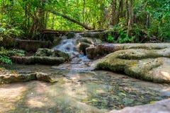 Smooth waterfall in Kanchanaburi, Thailand. royalty free stock photography
