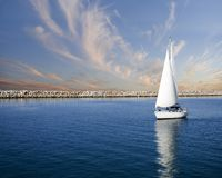 Smooth Waters. Sailboat on peaceful still waters in a harbor Royalty Free Stock Image