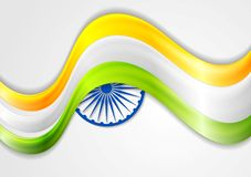 Smooth waves background. Colors of India. Republic Day 26 January vector design Stock Image