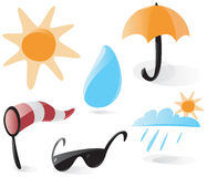 Smooth weather icons. Set of smooth and glossy weather icons. Vector illustration Royalty Free Stock Photos