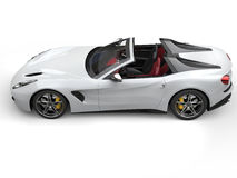 Smooth white cutting edge sports car - top down view Stock Images