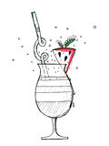 Smoothie арбуза в стекле с мятой и соломой Рука smoothie арбуза нарисованная на белой предпосылке Арбуз Стоковая Фотография RF
