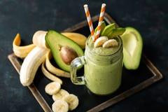 Smoothie банана и авокадоа Стоковая Фотография RF