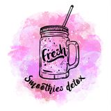 Smoothie вытрезвителя, здоровые коктеили лета, стекло с соком для вытрезвителя и здоровый образ жизни Иллюстрация вектора, дизайн Стоковые Изображения