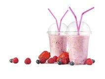 Smoothie на белизне и плодоовощ - изображении запаса Стоковое Фото