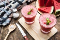 Smoothie смешивания плодоовощ арбуза для здоровья освежая для питья Стоковые Изображения RF