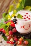 Smoothie ягоды с свежими ягодами и травами лета Стоковые Фотографии RF