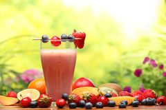 Smoothie. Glass of smoothie with fresh fruits Stock Photo