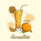 Smoothie anaranjado en vidrio con la paja Ejemplo del vector, diseño gráfico Imágenes de archivo libres de regalías