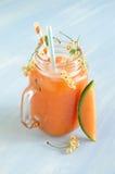 Smoothie avec le melon de cantaloup et les groseilles blanches et le glaçon Image stock