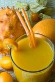 Smoothie avec les fruits tropicaux Photographie stock