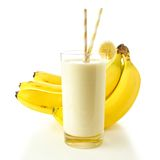 Smoothie with bananas over white Stock Image