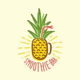 Smoothie bar pineapple cup vector Stock Images