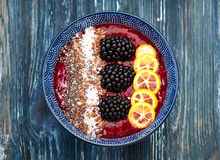Smoothie with berries, chia and flax seed stock image