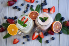 Smoothie and berries Stock Photo