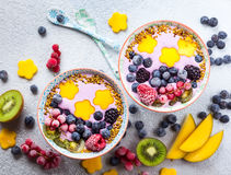 Smoothie with berry and fruit royalty free stock photography