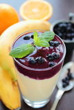 Smoothie with blueberry and banana Royalty Free Stock Images