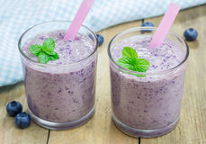 Smoothie with blueberry, banana and yogurt Royalty Free Stock Images
