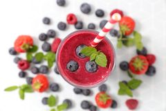 Smoothie with blueberry. Top view Stock Photography
