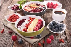 Smoothie bowl and berries Royalty Free Stock Photo
