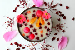 Smoothie bowl star. Smoothie rose bowl star with melon and pear Royalty Free Stock Photo
