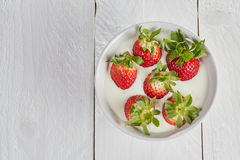 Smoothie bowl with strawberries in white yoghurt Stock Photo