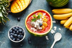 Smoothie Bowl from watermelon stock image
