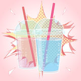 Smoothie, Bubble Tea or Milk Cocktail design in pop art comic style, vector illustration Royalty Free Stock Photography