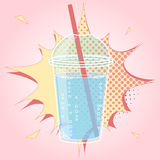 Smoothie, Bubble Tea or Milk Cocktail design in pop art comic style, vector illustration Stock Image