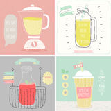 Smoothie cards - Hand drawn style. Stock Images
