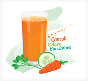 Smoothie carrot celery cucumber. For industries and caffe Stock Images
