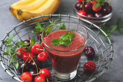 Smoothie with cherry and banana Stock Photo