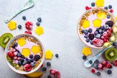 Smoothie con la baya y la fruta Fotografía de archivo