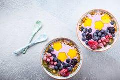 Smoothie con la baya y la fruta Foto de archivo libre de regalías