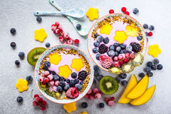 Smoothie con la baya y la fruta Fotos de archivo