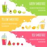 Smoothie d'été Bannières horizontales de diverses boissons de smoothie illustration libre de droits