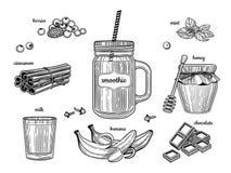 Smoothie dans un pot en verre Les ingrédients individuels Baies, cannelle, lait, bananes, chocolat, miel, menthe illustration libre de droits
