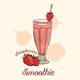 Smoothie de fraise en verre avec la paille Illustration de vecteur, conception graphique Photos stock