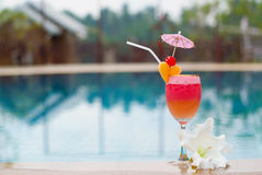 Smoothie de fraise en verre de cocktail Photo stock